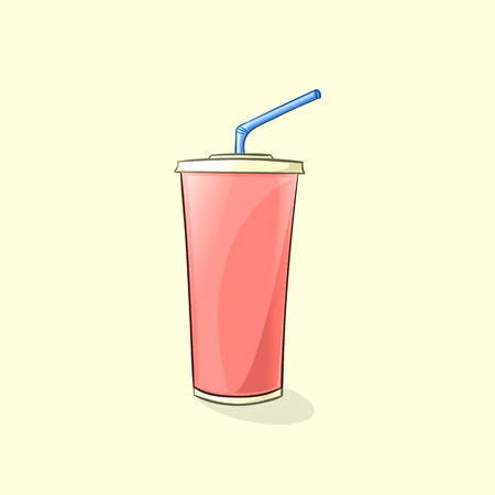 plastic straw: Beverage plastic cup with straw in cartoon style. Vector illustration