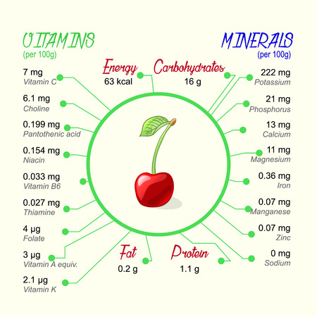 nutritional: Nutritional value of cherry. Vector infographic elements