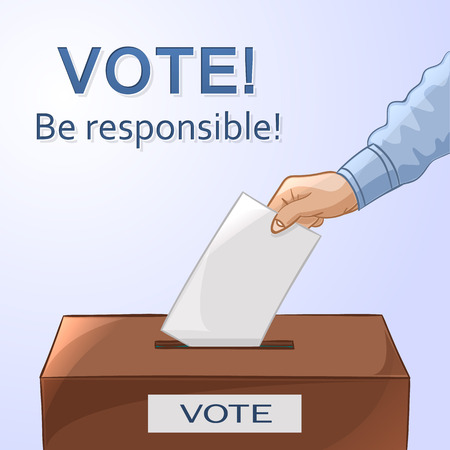 voter registration: Voting concept in cartoon style - hand putting paper in the ballot box. Be responsible! Vector illustration