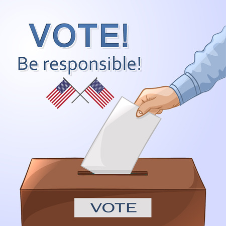 voter registration: Voting concept in cartoon style - hand putting paper in the ballot box. Be responsible! USA election day. Vector illustration
