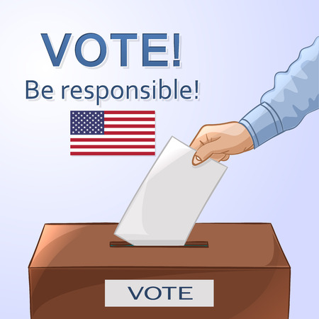 polling place: Voting concept in cartoon style - hand putting paper in the ballot box. Be responsible! USA election day. Vector illustration