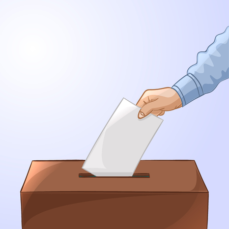 polling place: Voting concept in cartoon style - hand putting paper in the ballot box. Election day. Vector illustration