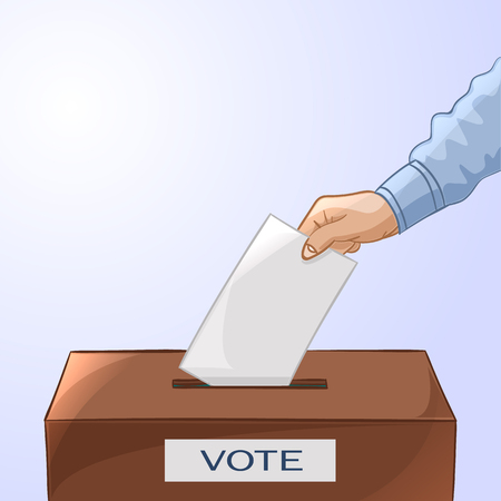 voter registration: Voting concept in cartoon style - hand putting paper in the ballot box. Election day. Vector illustration