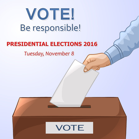 balloting: Voting concept in cartoon style - hand putting paper in the ballot box. Be responsible! USA election day. Vector illustration
