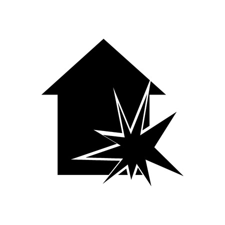 criminal act: House explosion icon. Silhouette vector illustration Illustration