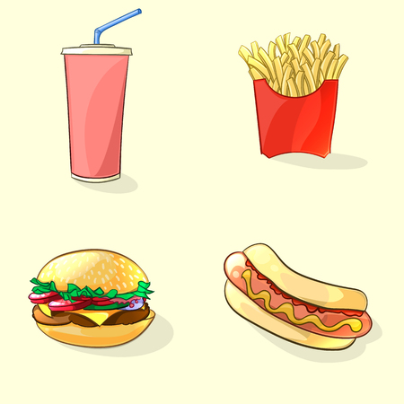 Fast food illustration in cartoon style. Hot dog, beverage cup, burger and French fries. Vector