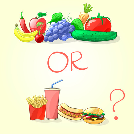 Fruits et légumes frais ou de restauration rapide. Vector illustration dans le style de bande dessinée Vecteurs