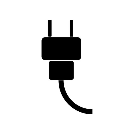electrical plug: Electrical plug icon. Silhouette flat design vector illustration Illustration