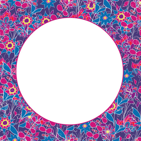Bright colorful seamless floral pattern with place for text. Vector illustration