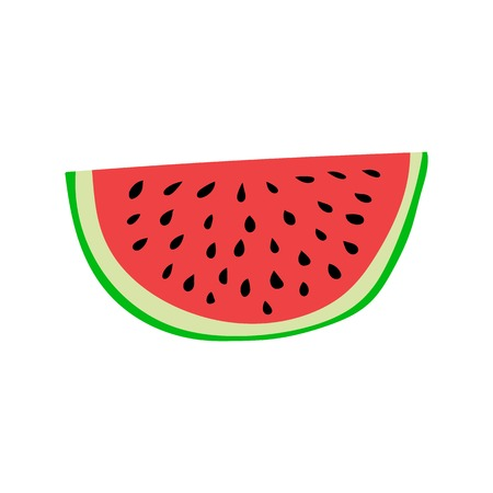 juicy: Colorful, ripe and juicy watermelon slice. Cartoon style vector illustration