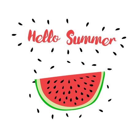 summer love: Vector print with watermelon and hand writing quote Hello Summer. Positive printable sign. Creative trendy art poster about summer, love and watermelon. Illustration