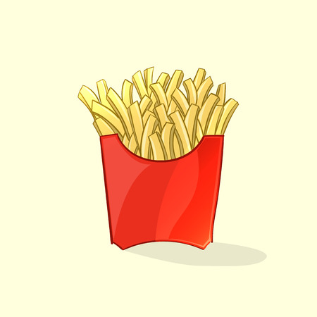 french style: Tasty french fries in cartoon style. Vector illustration