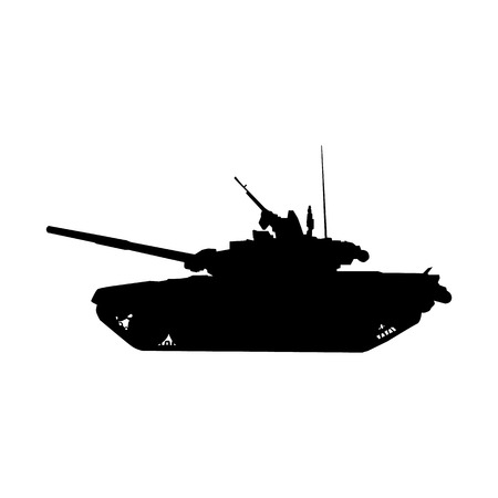 armored: Detailed Military tank silhouette. Armored vehicle icon. Vector illustration Illustration