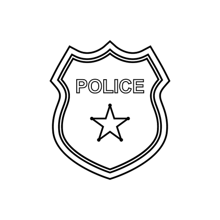 Police badge outline icon on the white background. Vector design Illustration