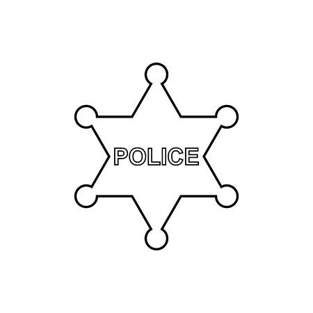警察は、白い背景の上のアウトラインのアイコンをツ星します。ベクター デザイン