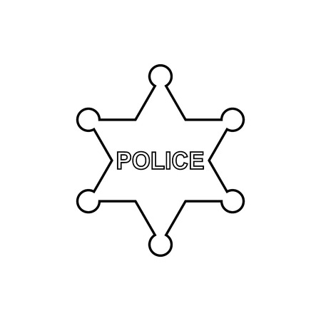Police star outline icon on the white background. Vector design