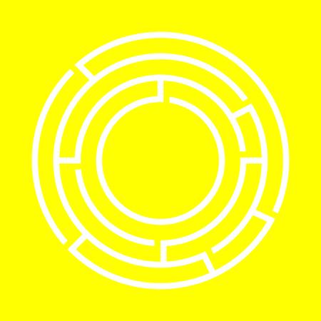 White round maze on the black background. Vector design Illustration