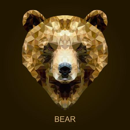 Moderne vector bruine beer in veelhoekige stijl. Geometrische illustratie