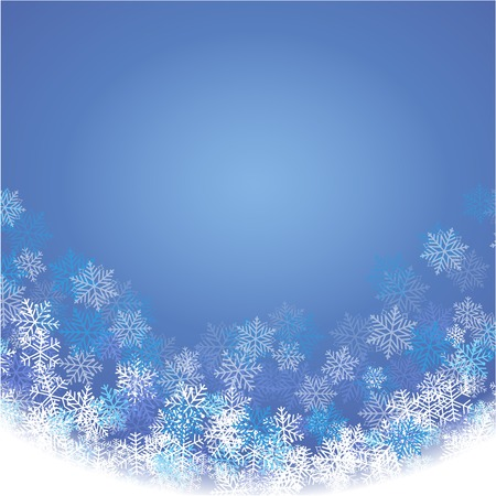 Winter blue background with fallen snowflakes. Festive card. Vector illustration Illustration
