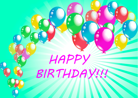 beatiful: beatiful holiday happy birthday poster greeting card colorful baloons vector