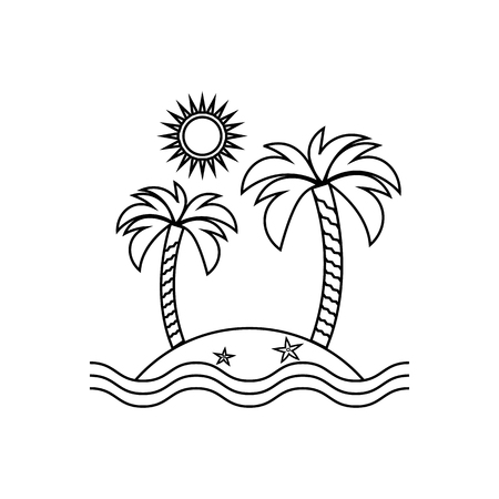 Island linear icon, travel, tourism, sun and palm on the white background. Vector design
