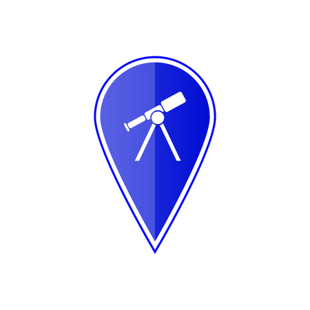 Blue map pointer with telescope on the white background. Vector design Illustration
