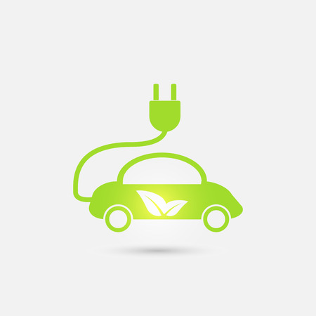 green eco: Electric car in refill icon, vector. Eco transportation. Green technologies