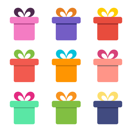 Colorful gift box icons on white background. Vector design Illustration