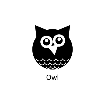Funny owl icon. Logo template for design, visit card, signage. Vector design Illustration