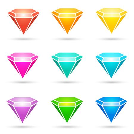 Colorful shiny diamond icons set on white background. Vector design