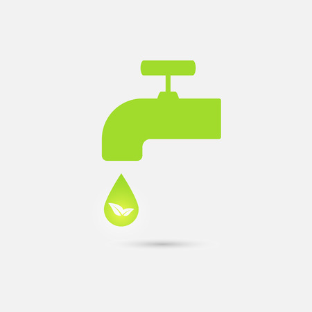 Green icon save environment and water concept. Kitchen faucet symbol. Vector