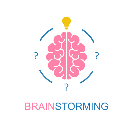 science symbols metaphors: Brain, brainstorming, idea, creativity logo and icon. Vector template for your web design and print