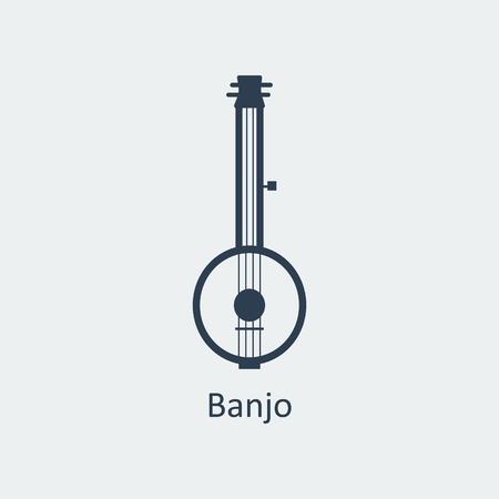 the resonator: Banjo icon. Musical symbol. Silhouette vector icon Illustration