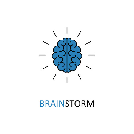 technology symbols metaphors: Brain, brainstorming, idea, creativity logo and icon. Vector template for your web design and print