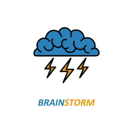 Brain, brainstorming, idea, creativity logo and icon. Vector template for your web design and print