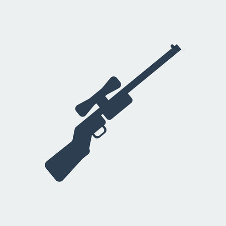 bolt: Rifle icon. Flat design silhouette vector illustration