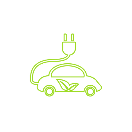 Electric car in refill icon, vector. Eco transportation. Green technologies