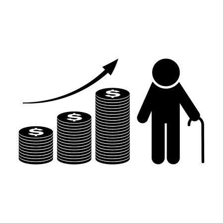 연금 기금 성장 아이콘. 은퇴 계획. 금융 투자 및 실루엣 벡터 그림 저장