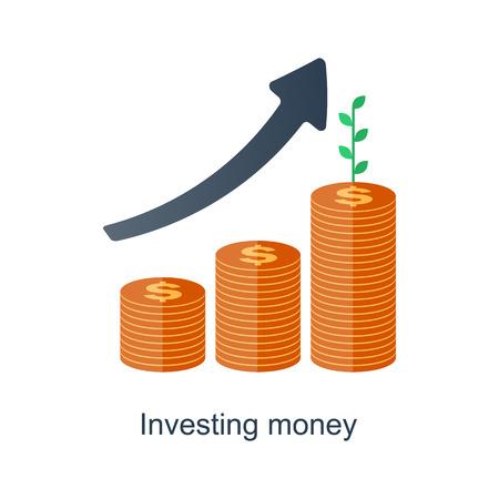 複利概念。時は金なりです。株式市場の金融投資。将来の収入の成長。厚生年金基金制度。ベクトル