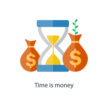 Concepto de interés compuesto El tiempo es dinero. Inversión financiera en bolsa. Futuro crecimiento del ingreso. Plan de fondos de pensiones. Vector