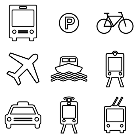 freight train: Transportation line icons set.  Public transport signs in linear style. Vector symbols Illustration