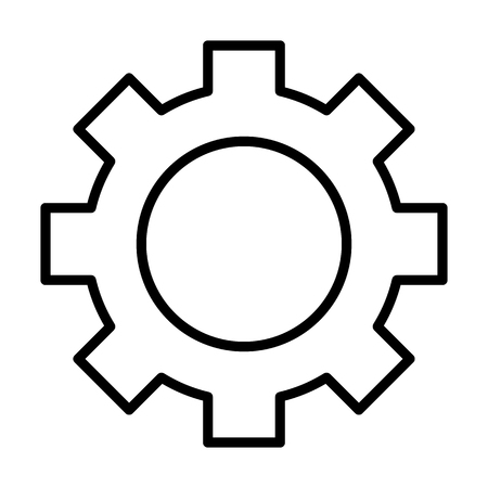 Gear wheel line icon. Cog linear sign. Options, preferences and settings symbol in outline style. Vector Vectores