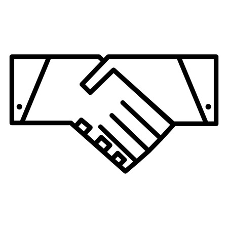 Handshake line icon. Partnership and agreement symbol. Vector pictogram