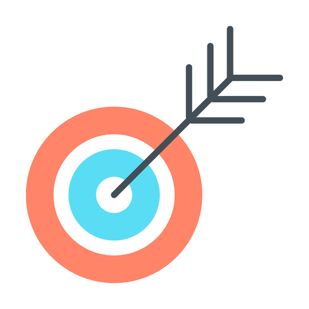 advantages: Target icon. Successful shoot concept symbol. Goal sign concept. Vector