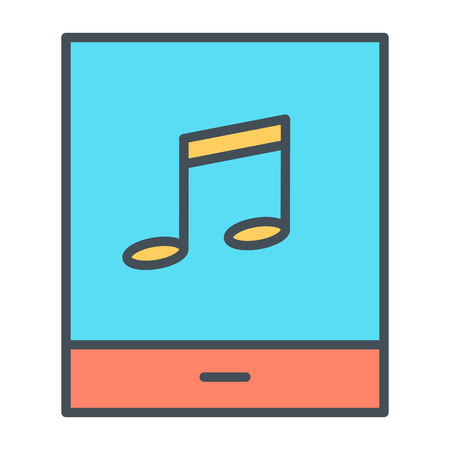 mobile marketing: Tablet with music note thin line icon Illustration