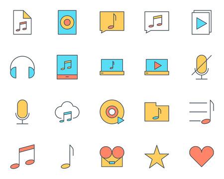multimedia icons: Music audio thin line icons set