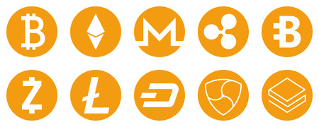 Cryptocurrency icons set for internet money. Symbols for using in web projects or mobile applications. Blockchain based secure. Isolated vector sign. Ilustração