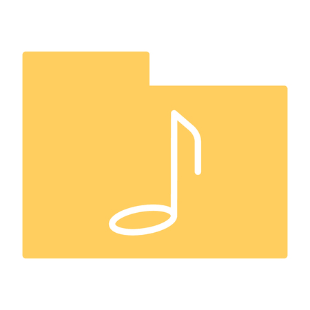 Music folder silhouette icon. 96x96 for Web Graphics and Apps.  Simple Minimal Pictogram. Vector
