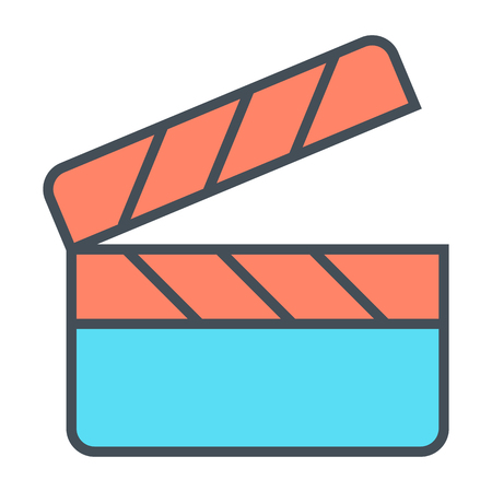 Movie clapper board line icon. Film production pictogram. Minimalistic vector illustration isolated on white background