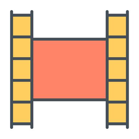 Film strip line icon video symbol flat design vector illustration